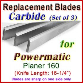 Set of 3 Carbide Blades for Powermatic 16'' Planer, 160