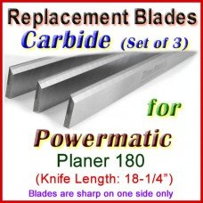 Set of 3 Carbide Blades for Powermatic 18'' Planer, 180