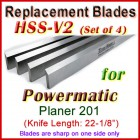 Set of 4 HSS Blades for Powermatic 22'' Planer, 201