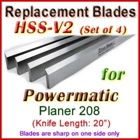 Set of 4 HSS Blades for Powermatic 20'' Planer, 208