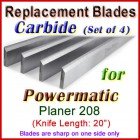 Set of 4 Carbide Blades for Powermatic 20'' Planer, 208
