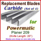 Set of 4 Carbide Blades for Powermatic 20'' Planer, 209