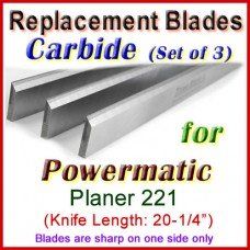 Set of 3 Carbide Blades for Powermatic 20'' Planer, 221