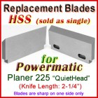 Set of 1 HSS Blades for Powermatic 2'' Planer, 180 (Quiet Head)