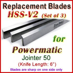 Set of 3 HSS Blades for Powermatic 6'' Jointer, 50
