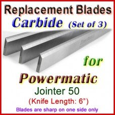 Set of 3 Carbide Blades for Powermatic 6'' Jointer, 50