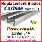 Set of 3 Carbide Blades for Powermatic 6'' Jointer, 54A