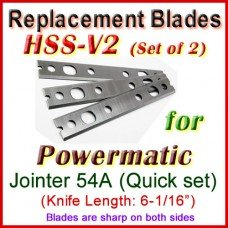 Set of 3 HSS Blades for Powermatic 6'' Jointer, 54A with Quick Change Head