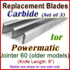 Set of 3 Carbide Blades for Powermatic 8'' Jointer, 60 (older models)