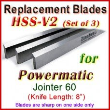 Set of 3 HSS Blades for Powermatic 8'' Jointer, 60