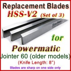 Set of 3 HSS Blades for Powermatic 8'' Jointer, 60 (older models)
