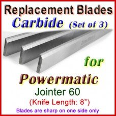 Set of 3 Carbide Blades for Powermatic 8'' Jointer, 60