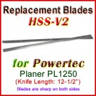 Set of 2 HSS Blades for Powertec 12-1/2'' Planer, PL1250
