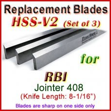 Set of 3 HSS Blades for RBI 8'' Jointer, 408