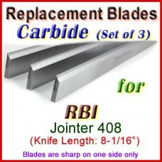 Set of 3 Carbide Blades for RBI 8'' Jointer, 408