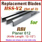 Set of 3 HSS Blades for RBI 12-1/2'' Planer, 612