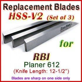 Set of 3 HSS Blades for RBI 12-1/2'' Planer, 612