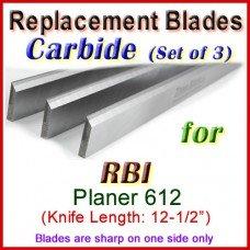 Set of 3 Carbide Blades for RBI 12-1/2'' Planer, 612