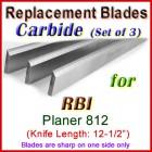 Set of 3 Carbide Blades for RBI 12-1/2'' Planer, 812
