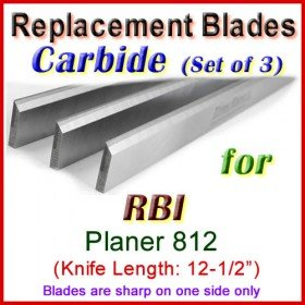 Set of 3 Carbide Blades for RBI 12-1/2'' Planer, 812