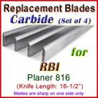 Set of 4 Carbide Blades for RBI 16-1/2'' Planer, 816