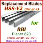 Set of 4 HSS Blades for RBI 20-1/2'' Planer, 820