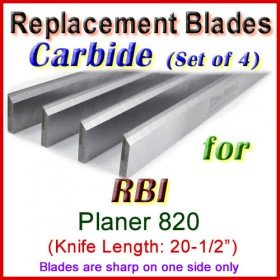 Set of 4 Carbide Blades for RBI 20-1/2'' Planer, 820