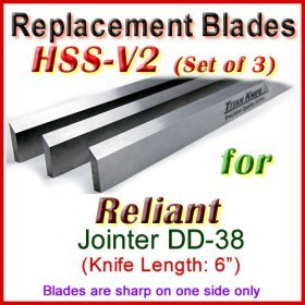 Set of 3 HSS Blades for Reliant 6'' Jointer, DD-38
