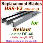 Set of 3 HSS Blades for Reliant 8'' Jointer, DD-40