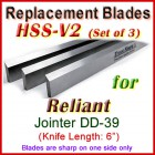 Set of 3 HSS Blades for Reliant 6'' Jointer, DD-39