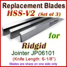 Set of 3 HSS Blades for Ridgid 6'' Jointer, JP06101