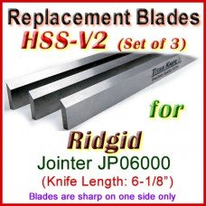 Set of 3 HSS Blades for Ridgid 6'' Jointer, JP06000
