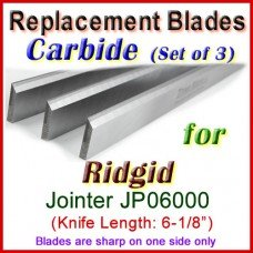 Set of 3 Carbide Blades for Ridgid 6'' Jointer, JP06000