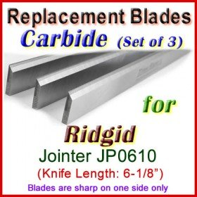Set of 3 Carbide Blades for Ridgid 6'' Jointer, JP0610