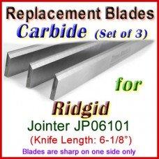 Set of 3 Carbide Blades for Ridgid 6'' Jointer, JP06101
