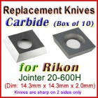 Set of 10 HSS Blades for Rikon 0'' Jointer, 20-600H