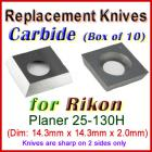 Box of 10 Carbide Insert knives for Rikon Planer, 25-130H