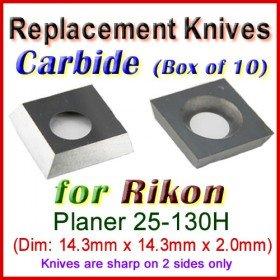 Box of 10 Carbide Insert knives for Rikon Planer, 25-130H