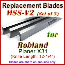 Set of 3 HSS Blades for Robland 12'' Planer, X31