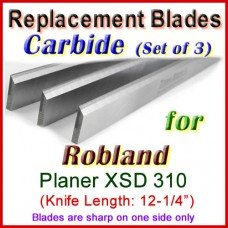 Set of 3 Carbide Blades for Robland 12'' Planer, XSD 310