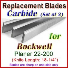 Set of 3 Carbide Blades for Rockwell 18'' Planer, 22-200