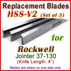 Set of 3 HSS Blades for Rockwell 4'' Jointer, 37-130