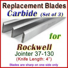 Set of 3 Carbide Blades for Rockwell 4'' Jointer, 37-130