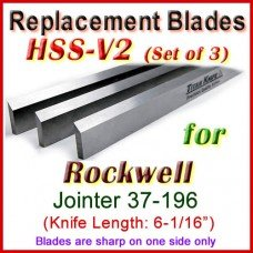 Set of 3 HSS Blades for Rockwell 6'' Jointer, 37-196