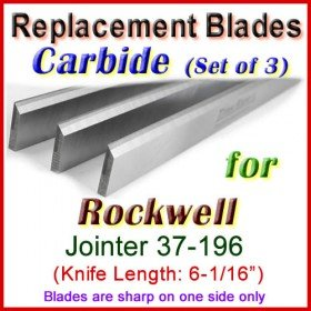 Set of 3 Carbide Blades for Rockwell 6'' Jointer, 37-196