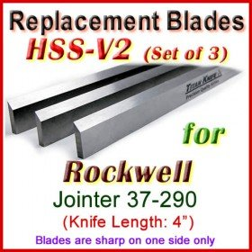 Set of 3 HSS Blades for Rockwell 4'' Jointer, 37-290