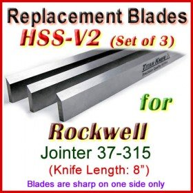 Set of 3 HSS Blades for Rockwell 8'' Jointer, 37-315