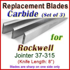Set of 3 Carbide Blades for Rockwell 8'' Jointer, 37-315