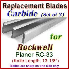 Set of 3 Carbide Blades for Rockwell 13'' Planer, RC-33