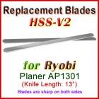 Set of 2 HSS Blades for Ryobi 13'' Planer, AP1301
